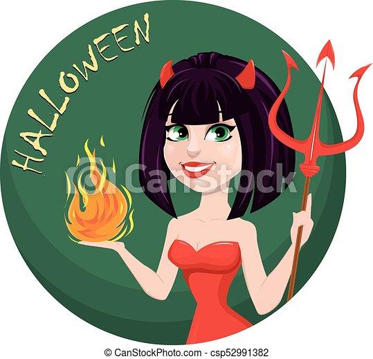 halloween., ona-przysmażają, diabeł, trójząb, jeden, płomień, another., sexy, dziewczyna, ręka - csp52991382