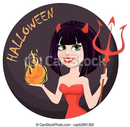 halloween., ona-przysmażają, diabeł, trójząb, jeden, płomień, another., sexy, dziewczyna, ręka - csp52991360