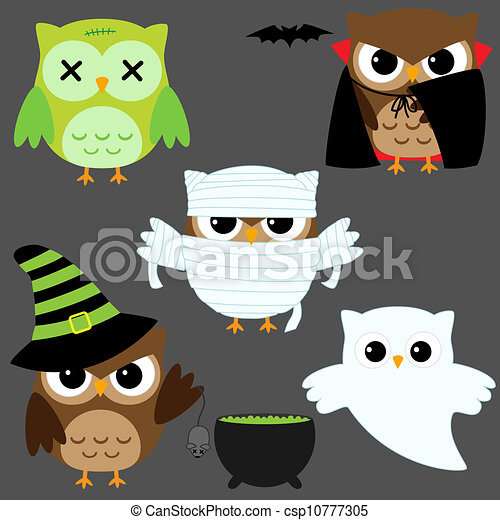 Halloween Owls Set Of Cute Vector In Costumes