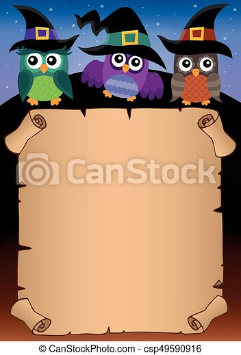 Halloween parchment with owls theme 1 - csp49590916