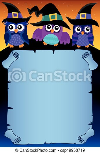 Halloween parchment with owls theme 3 - csp49958719