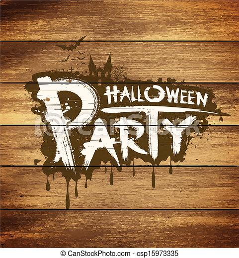 halloween partei, nachricht, design - csp15973335