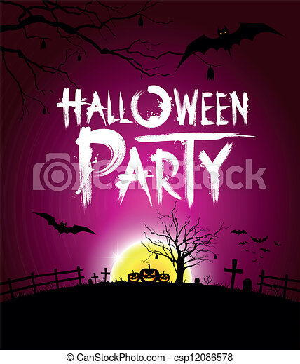 Halloween party at night background - csp12086578