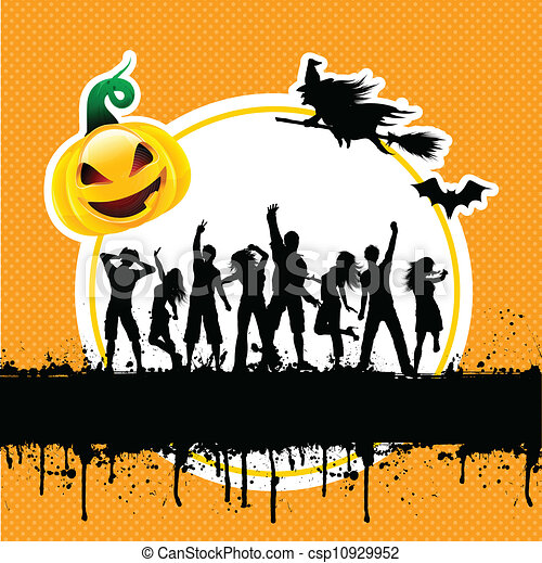 Halloween party background. Silhouettes of people dancing on ...