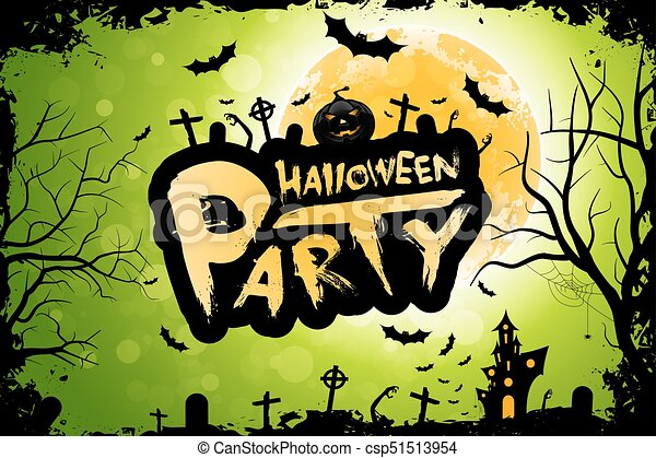 Halloween Party Background Holiday Card With Moon And Haunted House