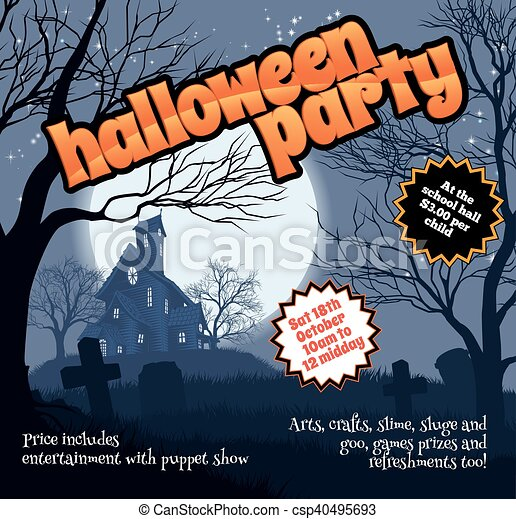 A Halloween Party Flyer Leaflet With A Spooky Haunted House  Eps