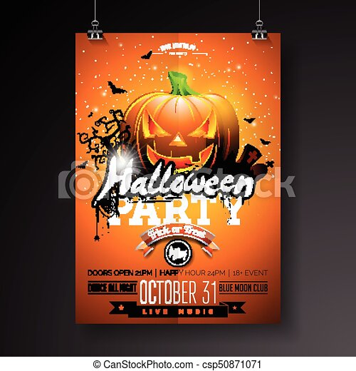 Halloween party flyer vector illustration with pumpkin and cemetery ...