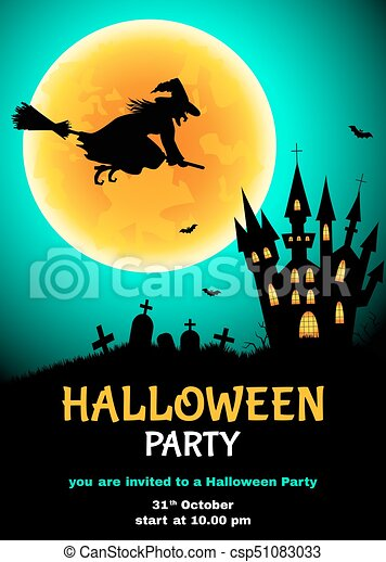 halloween party flyer with witch silhouette cemetery castle and