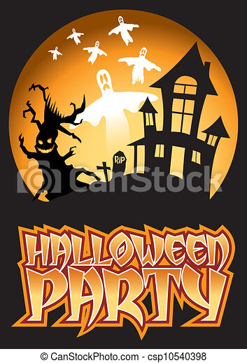 Halloween Party Ghost Illustration - csp10540398