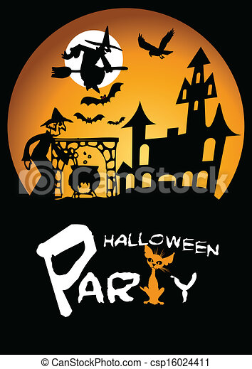 High Quality Halloween Party Graphic With Scared   Csp16024411