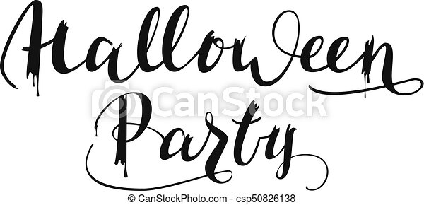 halloween party handwritten text for greeting invitation vectors rh canstockphoto com halloween party clip art humor halloween party clip art humor