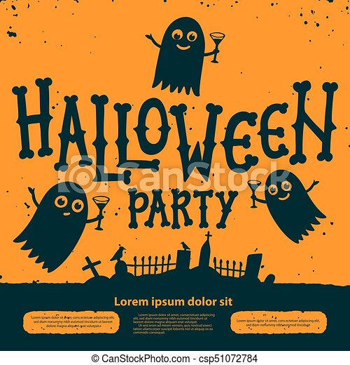 Halloween Party Invitation Card Halloween Party Invitation Flyer Ghosts With Cocktails At The Cemetery On Orange Background Halloween Flyer With
