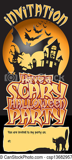 Halloween Party Invite Scary - csp13682957