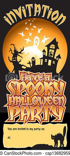 Halloween Party Invite Spooky - csp13682959