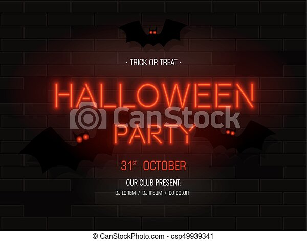 Halloween party light banner modern neon billboard on brick wall modern neon billboard on brick wall bright signboard with batsrty stopboris Choice Image