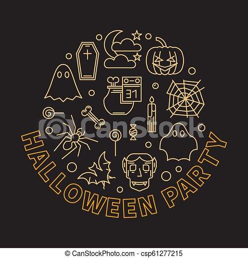 Halloween party round outline modern vector illustration - csp61277215