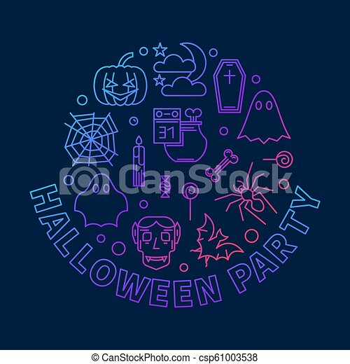 Halloween party round vector outline colored illustration - csp61003538