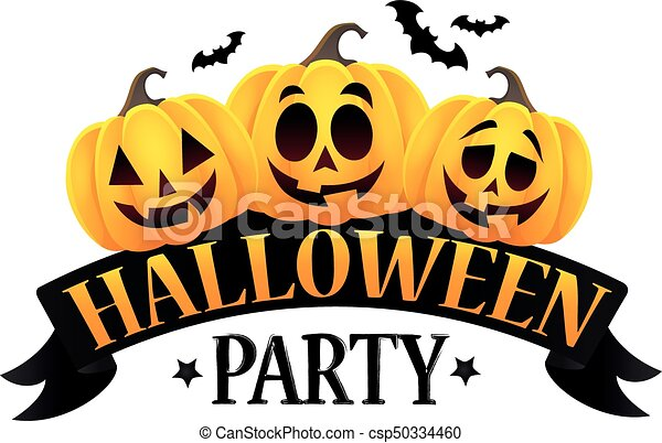 halloween party sign theme image 6 eps10 vector clip art vector rh canstockphoto com halloween party clip art free halloween party clipart free