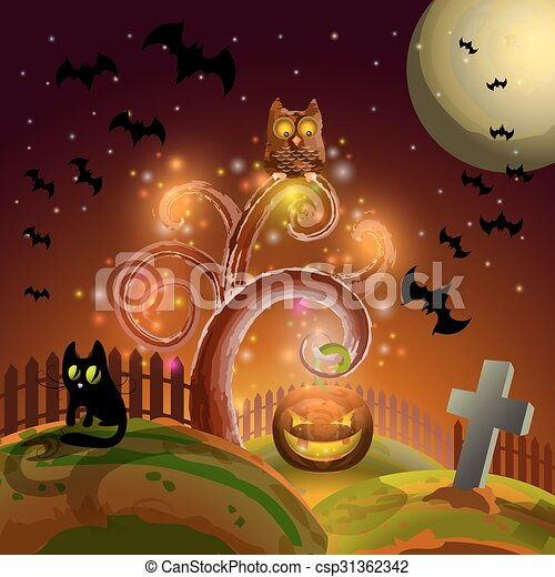 Halloween party tree - csp31362342