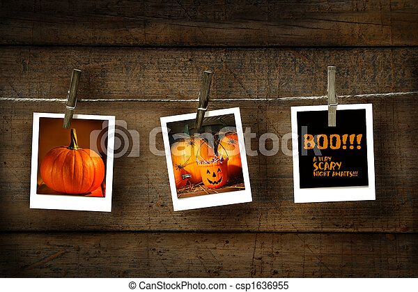 Halloween photos on distressed wood - csp1636955