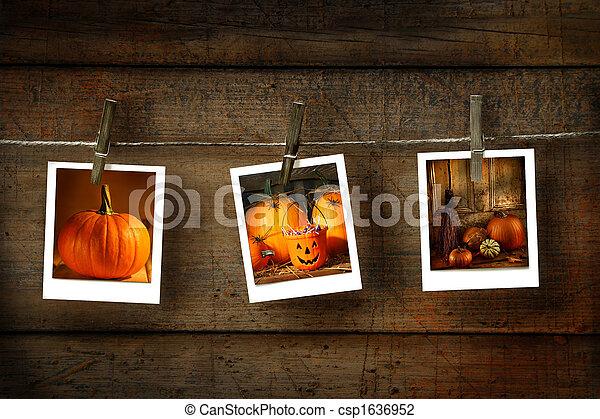 Halloween photos on distressed wood - csp1636952