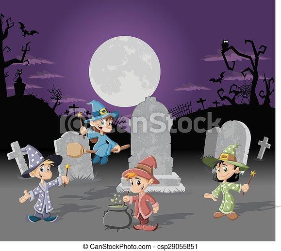 Antecedentes del cementerio de Halloween - csp29055851