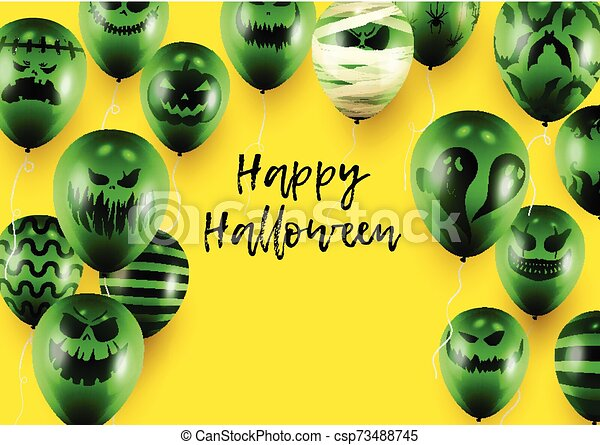 Halloween Poster and Banner Template with Green Balloons on Yellow background - csp73488745