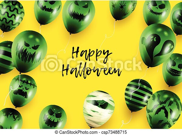 Halloween Poster and Banner Template with Green Balloons on Yellow background - csp73488715