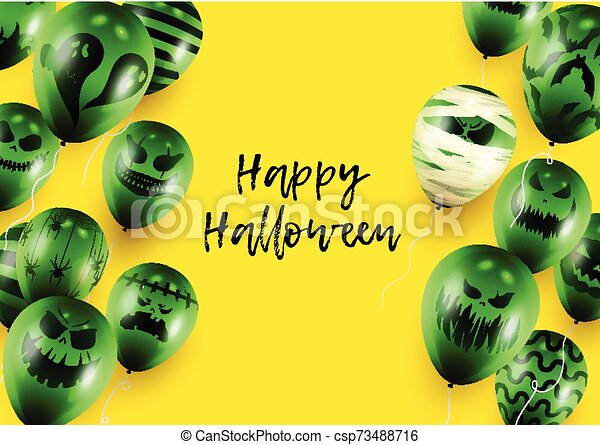 Halloween Poster and Banner Template with Green Balloons on Yellow background - csp73488716