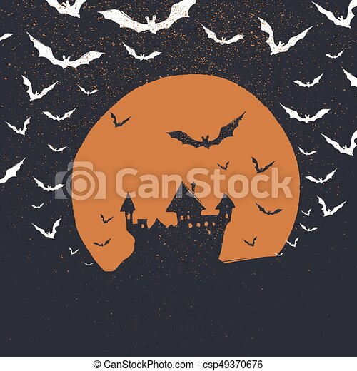 Halloween Poster Background Free.Halloween Poster Background Castle Bats And Moon Isolated To Black