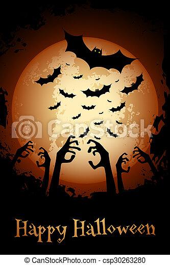 Halloween Poster. Grungy Background. - csp30263280