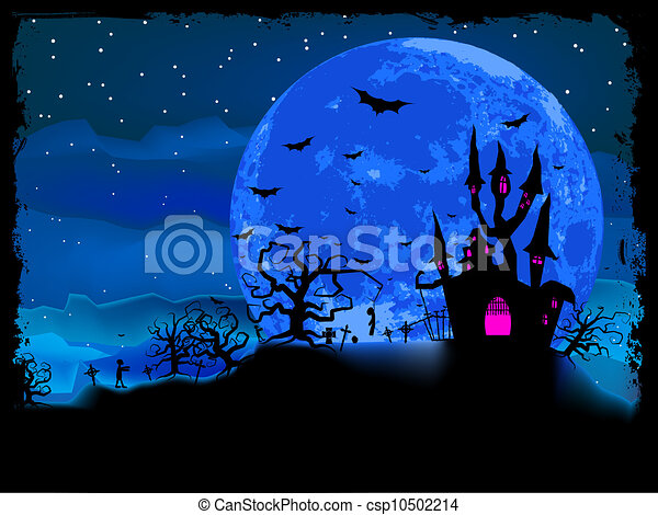 Halloween poster with zombie background. EPS 8 - csp10502214