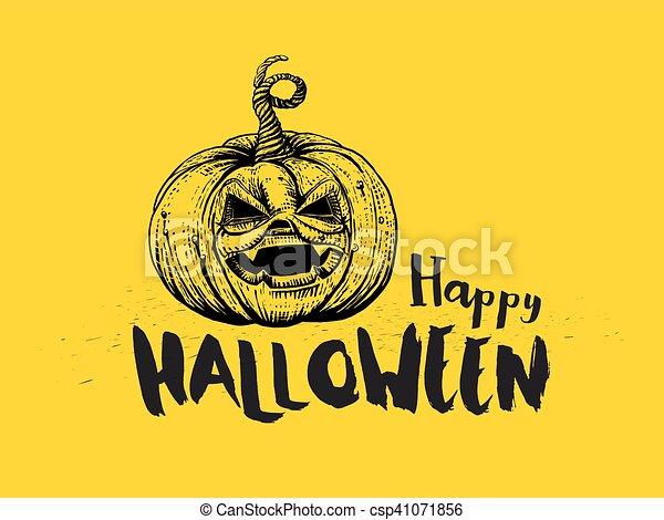 Halloween Pumpkin and typography - csp41071856