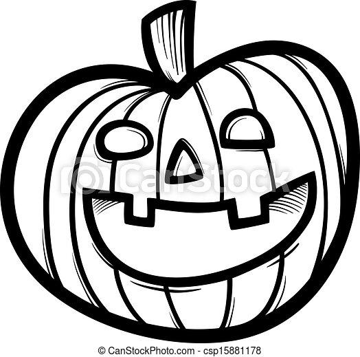 halloween pumpkin cartoon for coloring black and white vectors rh canstockphoto com pumpkin pie clipart black and white cute pumpkin black and white clipart