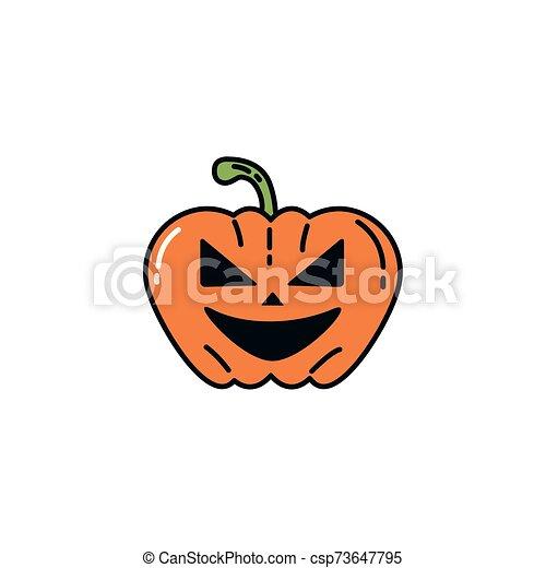 halloween pumpkin character flat icon - csp73647795