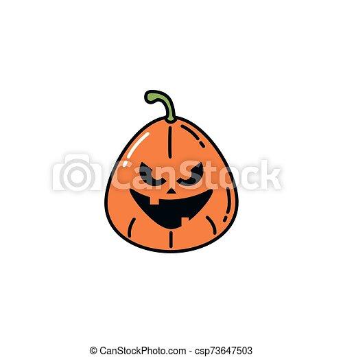 halloween pumpkin character flat icon - csp73647503