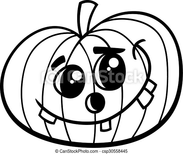 Halloween pumpkin coloring book. Black and white cartoon ...