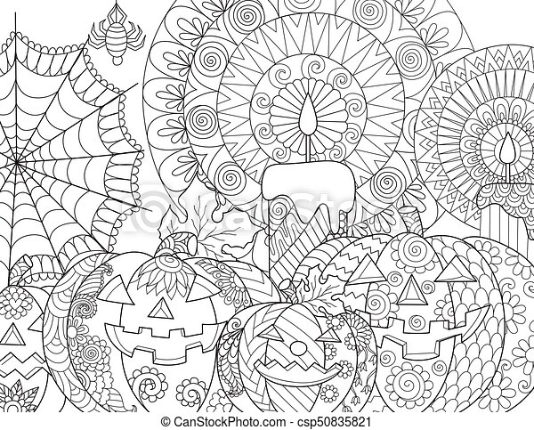 Halloween Pumpkin Coloring. Halloween Pumpkin, Candles, Spider, Cobweb For Adult  Coloring Book Page And Design Element. CanStock