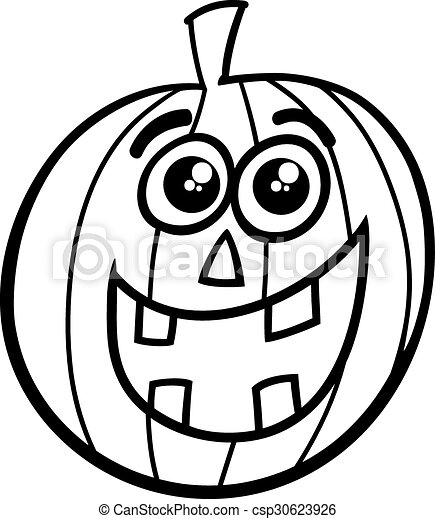halloween pumpkin coloring page black and white cartoon