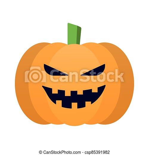 halloween pumpkin face flat style - csp85391982