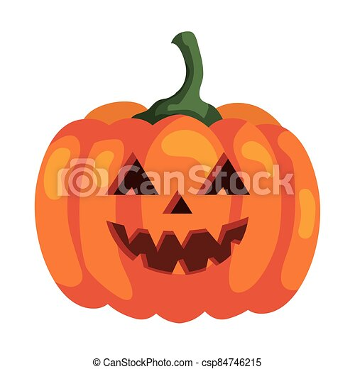 halloween pumpkin icon, on white background - csp84746215