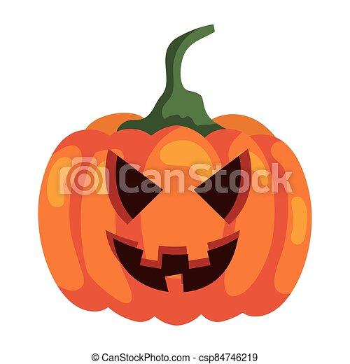 halloween pumpkin icon on white background - csp84746219