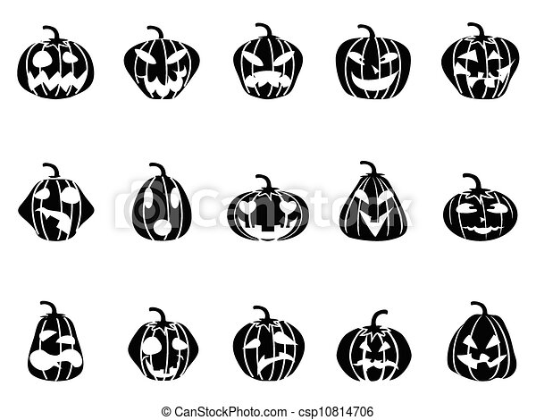 halloween pumpkin icons set - csp10814706
