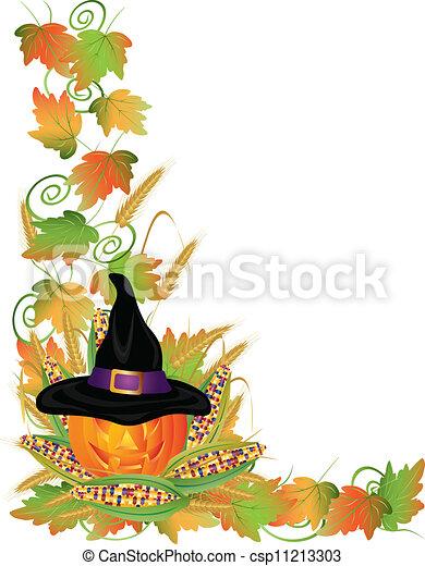 Halloween Pumpkin Jack-O-Lantern and Vines Border Illustration - csp11213303