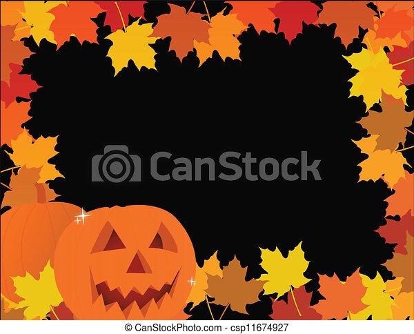 halloween pumpkin leaves frame  - csp11674927