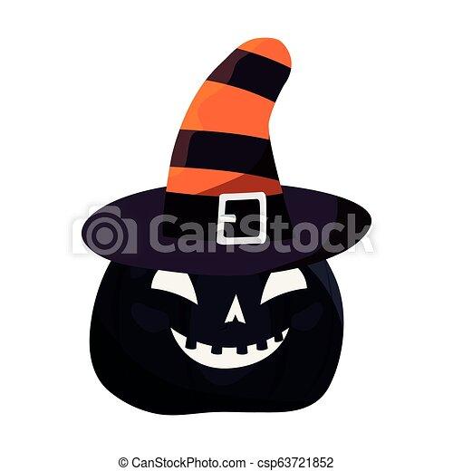 halloween pumpkin on white background - csp63721852