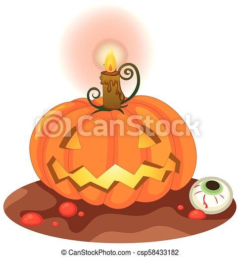 Halloween Pumpkin on White Background - csp58433182