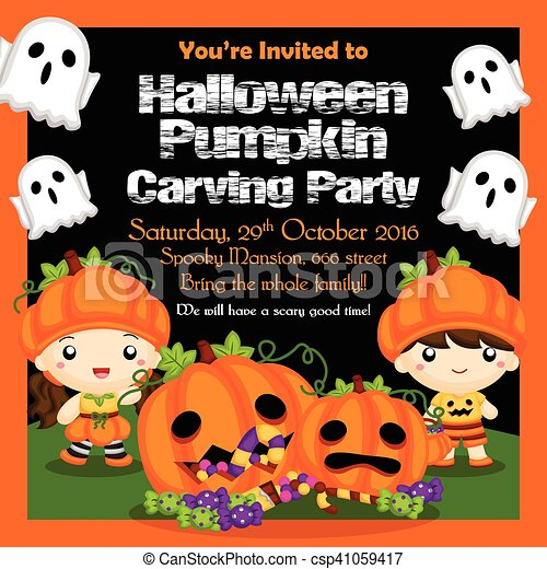 Halloween Pumpkin Party Invitation - csp41059417
