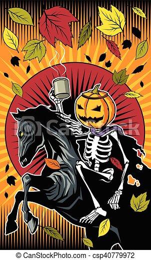 Illustration of halloween pumpkin skeleton ride on ...