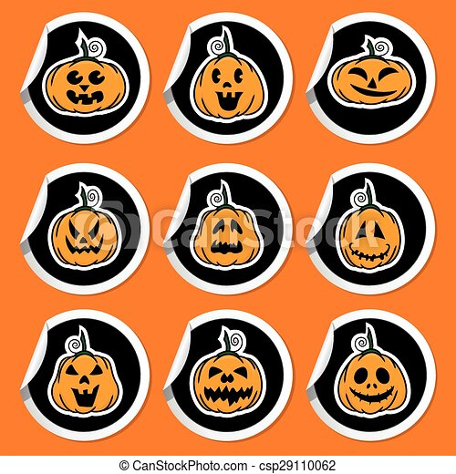 Halloween pumpkin stickers  - csp29110062